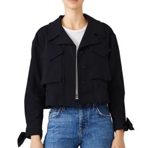 Milly Black Military cropped jacket Sz S
